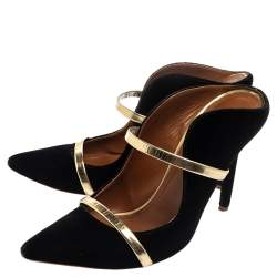 Malone Souliers Black and Gold Satin Maureen Pointed Toe Mules Size 38