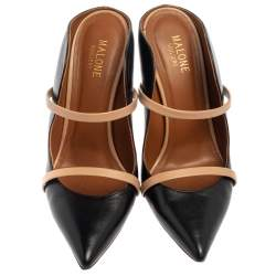 Malone Souliers Black/Beige Leather Maureen Mules Size 38