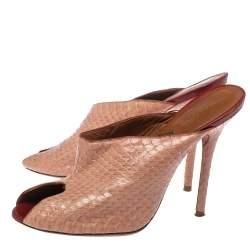 Malone Souliers Snakeskin Peep toe Mule Sandals Size 38.5