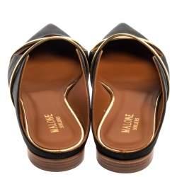 Malone Souliers Black Satin Maureen Mule Flats Size 39