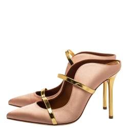 Malone Souliers Blush Gold Satin And Leather Maureen Sandals Size 38