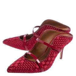 Malone Souliers Red Woven Satin And Patent Leather Maureen Mule Sandals Size 39