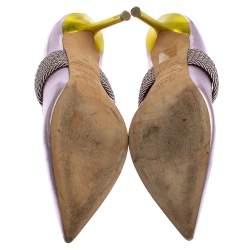 Malone Souliers by Roy Luwolt Metallic Purple Leather Mara Pointed Toe Mules Size 38