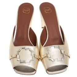 Malone Souliers Metallic Gold Leather Missy Open Toe Mules Size 40.5
