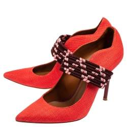 Malone Souliers Red Raffia And Fabric Mannie Pointed Toe Pumps Size 37.5