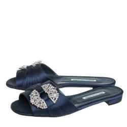 Manolo Blahnik Navy Blue Satin Embellished Pralina Flat Slides Size 39.5