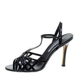 Manolo Blahnik Black Patent Leather Cut Out T Strap Sandals Size 42