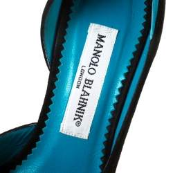 Monolo Blahnik Black/Turquoise  Suede D' Orsay Peep Toe Pumps Size 35