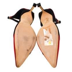Manolo Blahnik Red/Black Satin Kobra Pointed Toe Ankle Strap Pumps Size 40.5