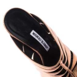Manolo Blahnik Metallic Rose Gold Lasercut Leather Mule Sandals Size 36