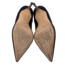 Manolo Blahnik Black Satin Cross Pointed Toe Pumps Size 38