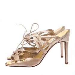 Manolo Blahnik Beige Laser Cut Satin Open Toe Ankle Wrap Sandals Size 36.5