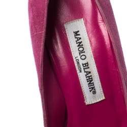 Manolo Blahnik Pink Suede BB Pointed Toe Pumps Size 35.5
