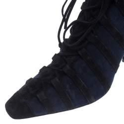 Manolo Blahnik Black/Blue Suede And Faux Fur Lace Up Ankle Boots Size 39.5