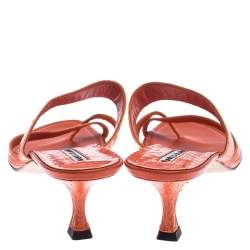 Manolo Blahnik Orange Python Susa Thong Kitten Heel Sandals Size 40