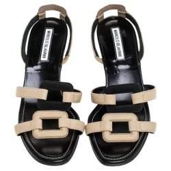 Manolo Blahik Beige/Black Cutout Leather Slingback Sandals Size 37