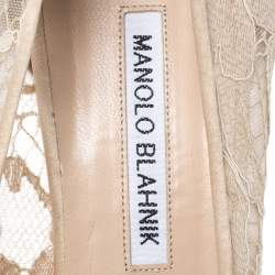 Manolo Blahnik Beige Lace and Satin Hangisi Pointed Toe Pumps Size 39.5
