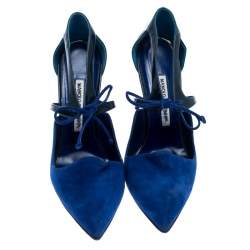 Manolo Blahnik Blue Suede And Patent Leather Lace Up Pointed Toe Pumps Size 39