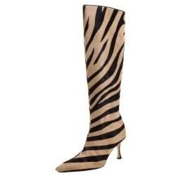 Manolo Blahnik Brown/Beige Calf Hair Leopard Print Knee Length Pointed Toe Boots Size 36