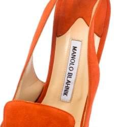 Manolo Blahnik Orange Suede Slingback Sandals Size 40.5