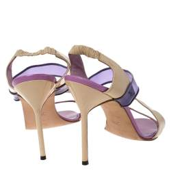 Manolo Blahnik Purple/Beige Patent Leather and PVC Slingback Sandals Size 38.5