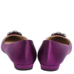 Manolo Blahnik Purple Satin Hangisi Crystal Embellished Ballet Flats Size 39