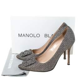 Manolo Blahnik Silver Glitter Fabric Hangisi Crystal Embellished Pumps Size 39.5