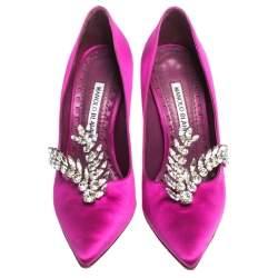 Manolo Blahnik Magenta Satin Jewel Embellished Shufti Pumps Size 37.5
