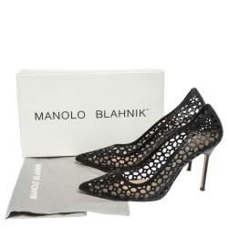 Manolo Blahnik Black Laser Cut Leather Pointed Toe Pumps Size 39.5