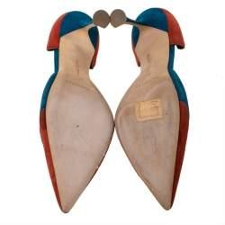 Manolo Blahnik Multicolor Suede Sepulcrus D'orsay Pointed Toe Pumps Size 39.5