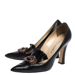 Manolo Blahnik Black Leather Crystal Embellished Frill Detail Pointed Toe Pumps Size 38.5