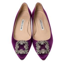 Manolo Blahnik Purple Satin Hangisi Crystal Embellished Ballet Flats Size 37.5