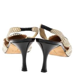 Manolo Blahnik Black/White Fabric And Patent Cap Toe Carolyne Slingback Sandals Size 41