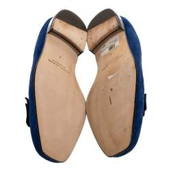 Manolo Blahnik Blue Suede Leather Toro Opera Bow Slip On Loafers Size 41