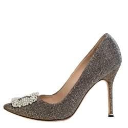 Manolo Blahnik Metallic Glitter Fabric Hangisi Pearl Embellished Pumps Size 39