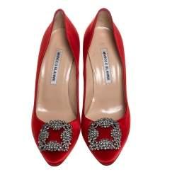 Manolo Blahnik Red Satin Hangisi Embellished Pointed Toe Pumps Size 37.5