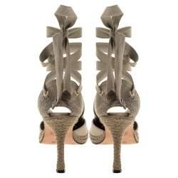 Castaner By Manolo Blahnik Beige Satin And Canvas Espadrille Ankle Tie Pumps Size 39