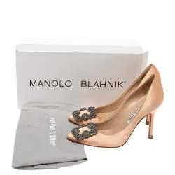 Manolo Blahnik Beige Satin Hangisi Crystal Embellished Pumps Size 34