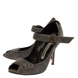 Manolo Blahnik Grey Suede Leather Peep Toe Ankle Strap Sandals Size 39