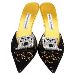 Manolo Blahnik Yellow/Black Satin and Laser Cut Suede Borli Crystal Embellished Mules Size 39.5