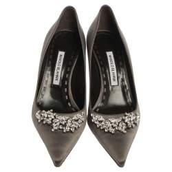 Manolo Blahnik Grey Satin Crystal Embellished Pumps Size 40
