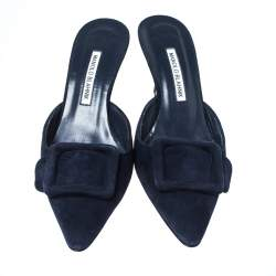 Manolo Blahnik Dark Blue Suede Maysale Pointed Toe Mule Sandals Size 40