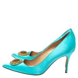 Manolo Blahnik Blue Satin Giuba Embellished Pointed Toe Pumps Size 41