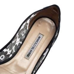 Manolo Blahnik Black Lace and Satin Hangisi Ballet Flats Size 38.5
