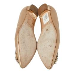 Manolo Blahnik Beige Satin Hangisi Crystal Embellished Ballet Flats Size 39