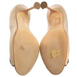 Manolo Blahnik Beige Satin Matik Peep Toe Pumps Size 37