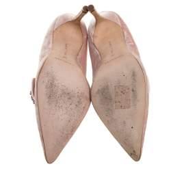 Manolo Blahnik Pink Velvet Decebalo Pointed Toe Pumps Size 37