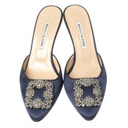 Manolo Blahnik Navy Blue Satin Hangisi Pointed Toe Mules Size 38.5