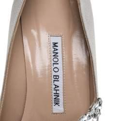 Manolo Blahnik Grey Satin Nadira Pointed Pumps Size 38