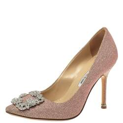 Manolo Blahnik Multicolor Glitter Fabric Hangisi Crystal Embellished Pointed Toe Pumps Size 37
